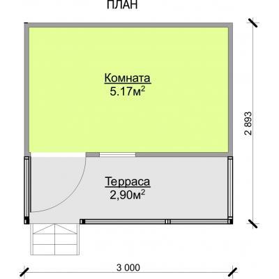 Планировка Бытовка 3.0×2.0 + терраса 3.0×1.0