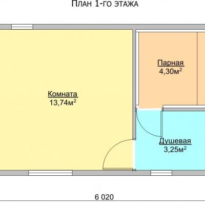 Планировка Баня 4.0x6.0 Б