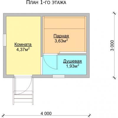 Планировка Баня 3.0х4.0 Б