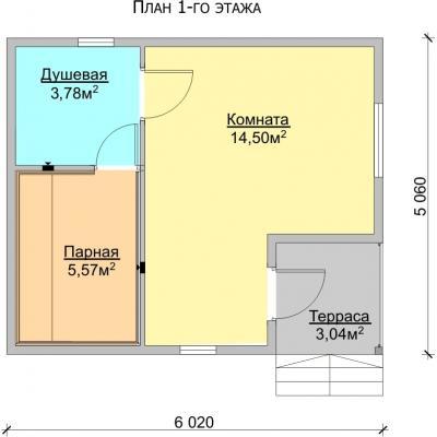 Планировка Баня 6.0x5.0 К