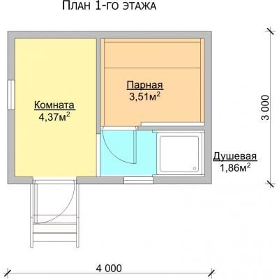 Планировка Баня 3.0x4.0 К