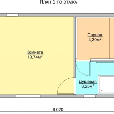 Планировка Баня 4.0x6.0 К