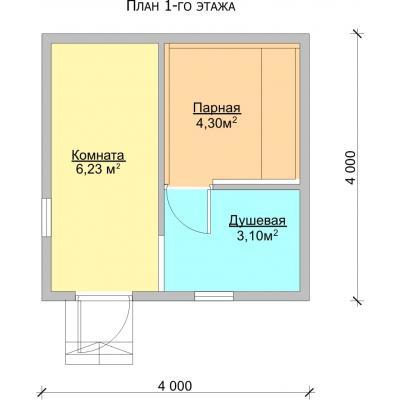 Планировка Баня 4.0x4.0 К
