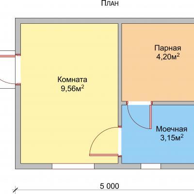 Планировка Баня 4.0x5.0 К