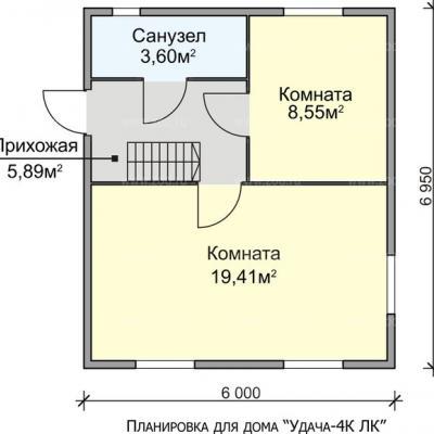 Планировка Успех K 150 ЛК 6х7