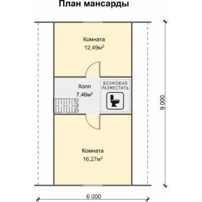Планировка Успех K 150 ЛК 6х9