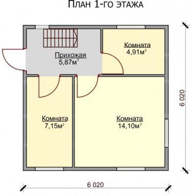 Планировка Уют Б 150 6х6